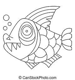 coloration, fish, enfants, livre, page, préscolaire