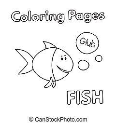 coloration, fish, livre, dessin animé