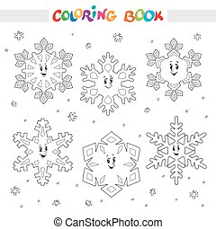 coloration, flocons neige, book., ensemble, dessin animé, kids.