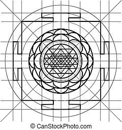 coloration, géométrie, sree, livre, sacré, yantra.