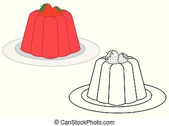coloration, gelée, illustration, vecteur, book., fraises