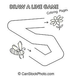 coloration, gosses, abeille, jeu, livre, dessin animé