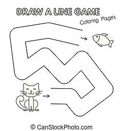 coloration, gosses, chat, jeu, livre, dessin animé