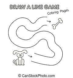 coloration, gosses, chien, jeu, livre, dessin animé