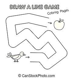 coloration, gosses, dessin animé, jeu, livre, oiseau