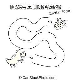 coloration, gosses, dinosaure, jeu, livre, dessin animé