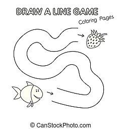 coloration, gosses, fish, jeu, livre, dessin animé