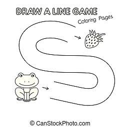 coloration, gosses, grenouille, jeu, livre, dessin animé