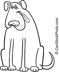 coloration, grand, chien, illustration, livre, dessin animé