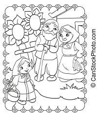 coloration, grands-parents, conte, livre, fée, girl