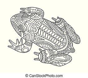 coloration, grenouille, main, livre, adulte, dessiné
