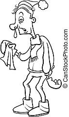 coloration, grippe, page, homme, dessin animé
