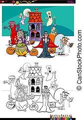 coloration, halloween, illustration, livre, caractères, dessin animé