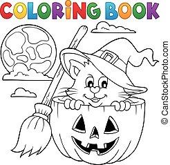 coloration, halloween, livre, chat