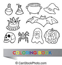 coloration, halloween, livre