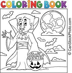coloration, halloween, livre, vampire
