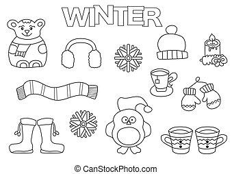 coloration, hiver, griffonnage, set., main, livre, dessiné, template., contour