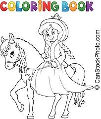 coloration, hiver, livre, cheval, princesse