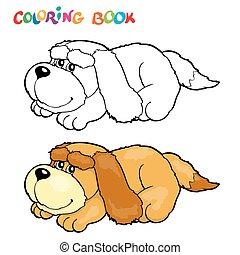 coloration, illustration., -, chien, vecteur, livre
