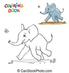 coloration, illustration, dessin animé, vecteur, noir, éléphant, bébé, blanc, livre, butterfly.