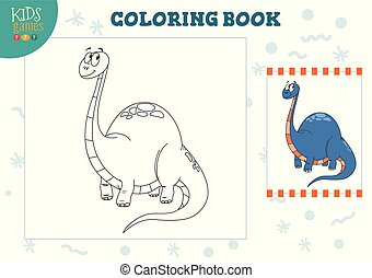 coloration, illustration., gosses, livre blanc, vecteur, activité, page, préscolaire