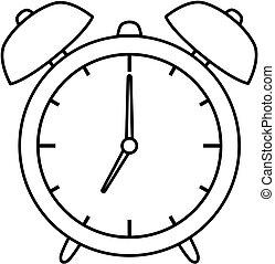 coloration, illustration., horloge, reveil, vecteur, icon., livre, contour