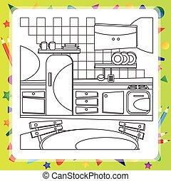 coloration, illustration., -, vecteur, livre, cuisine