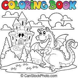 coloration, image, dragon 1, thème, livre