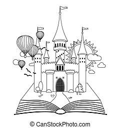 coloration, image, fée-conte, vecteur, château, livre