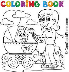 coloration, image, thème, 2, bébé, livre