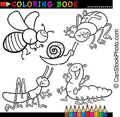 coloration, insectes, bogues, page, livre, ou