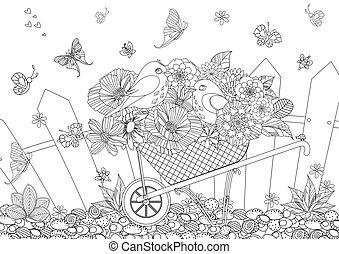 coloration, jardin, fleurs, couple, oiseaux, rustique, brouette, agréable, ton, paysage, page