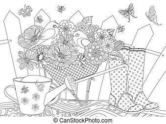 coloration, jardinage, fleur, oiseaux, rustique, équipement, livre, joli, ton, paysage