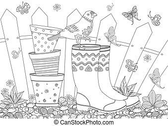 coloration, jardinage, rustique, équipement, livre, ton, paysage