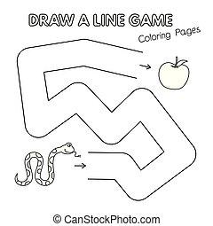 coloration, jeu gosses, livre, serpent, dessin animé