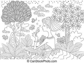 coloration, jeune femme, forêt, agréable, livre, heureux