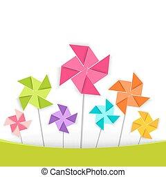 coloration, jouet, eps10., vecteur, pinwheel, dessin animé