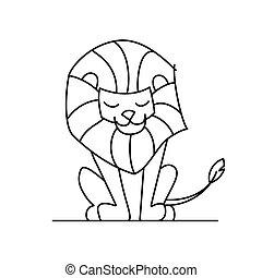 coloration, lion, peu, book:, caractère, mignon