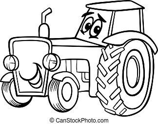 coloration, Livre, dessin animé, tracteur
