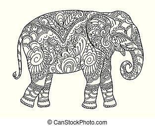 coloration, livre dessin, autre, adulte, décorations, zentangle, éléphant, ou