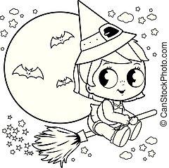 coloration, magie, elle, sky., balai, voler, halloween, vecteur, sorcière, nuit, bébé, noir, page blanc
