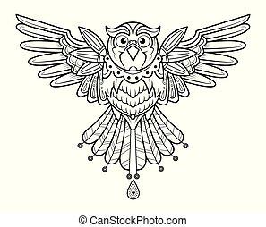 coloration, main, adulte, vector., dessiné, oiseau, page