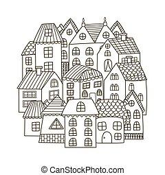 coloration, modèle, maisons, forme, livre, cercle