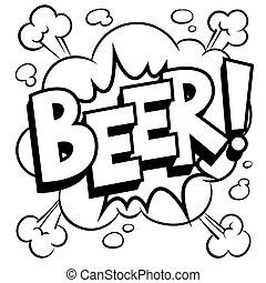 coloration, mot, illustration, bière, vecteur, livre comique