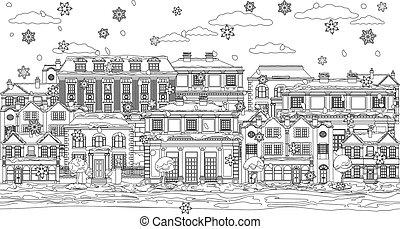 coloration, noël scène, neige, maisons, contour