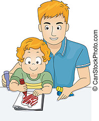 coloration, père, livre, fils