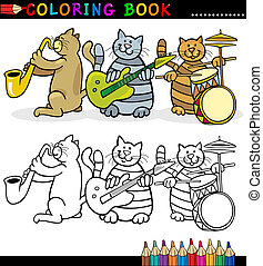 coloration, page, bande, livre, chats, ou