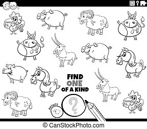coloration, page, jeu, animaux, une, ferme, espèce, livre