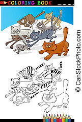 coloration, page, livre, courant, chats, ou