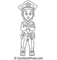 coloration, page, policier